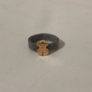Tous 18k Gold and mesh ring 100% Authentic